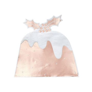 Rose Gold Christmas Pudding Napkins